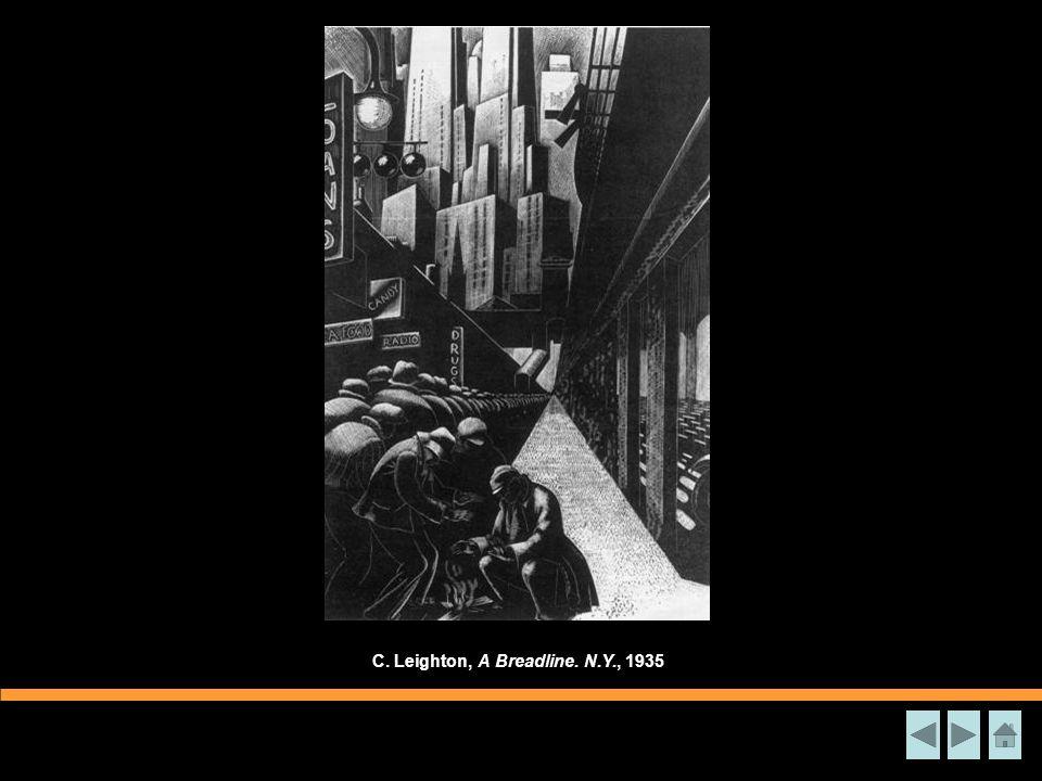 C. Leighton, A Breadline. N.Y., 1935