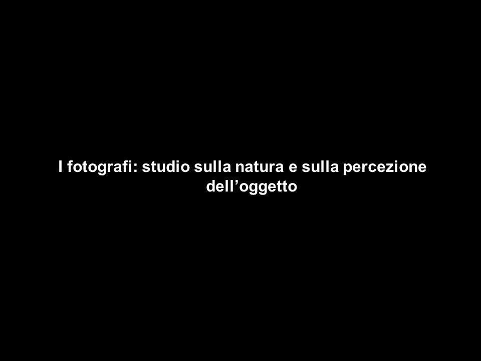 I fotografi: studio sulla natura e sulla percezione dell'oggetto