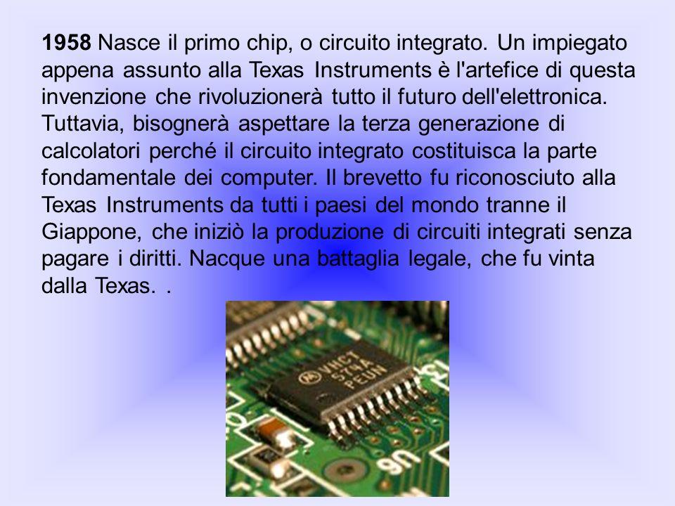 1958 Nasce il primo chip, o circuito integrato