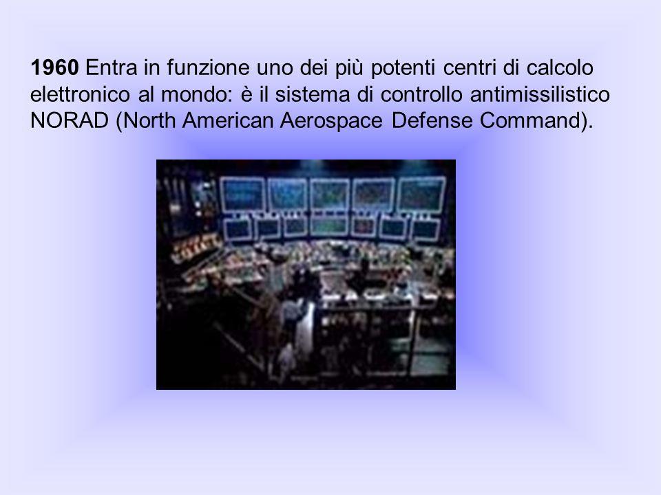 1960 Entra in funzione uno dei più potenti centri di calcolo elettronico al mondo: è il sistema di controllo antimissilistico NORAD (North American Aerospace Defense Command).