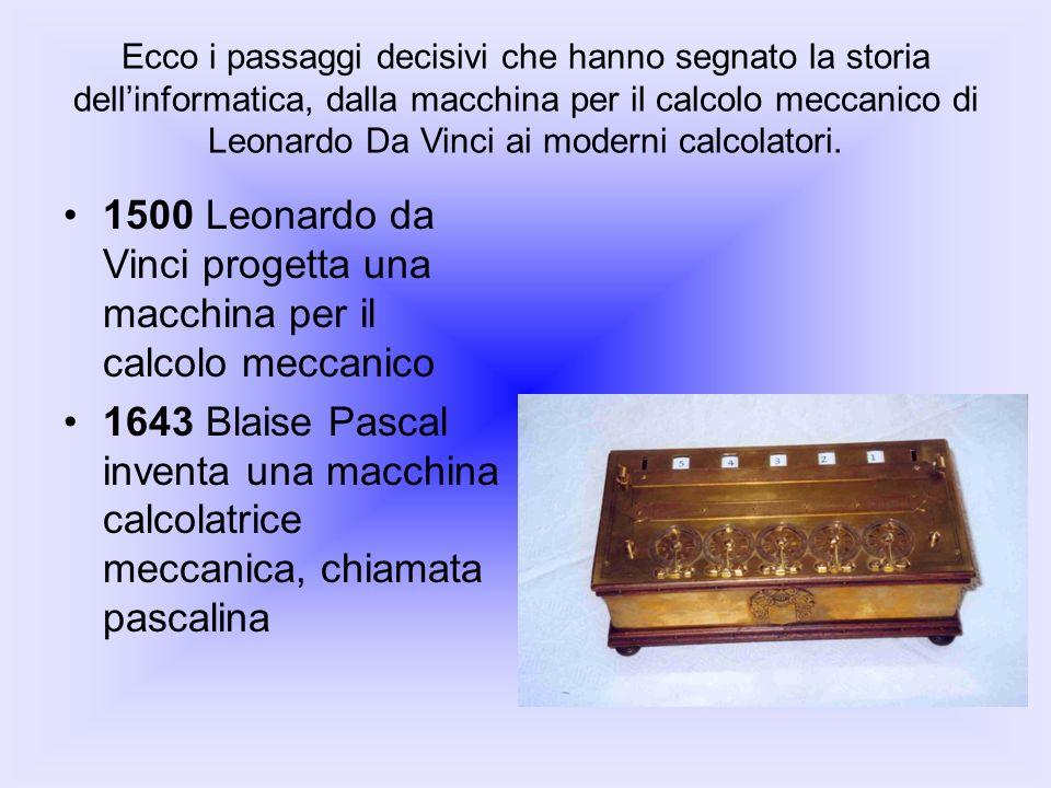 1500 Leonardo da Vinci progetta una macchina per il calcolo meccanico