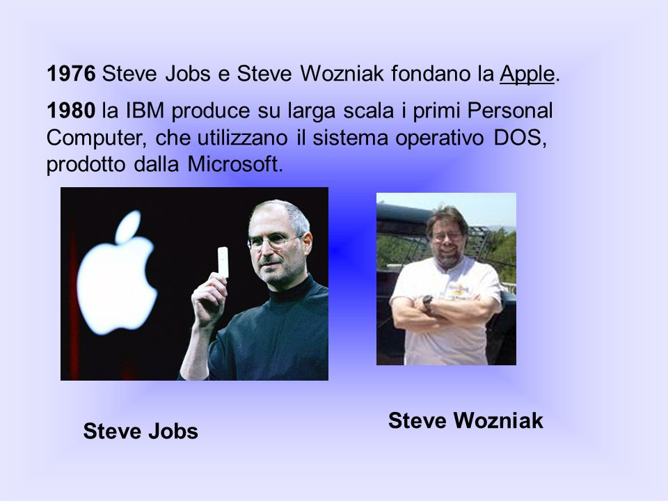 1976 Steve Jobs e Steve Wozniak fondano la Apple.