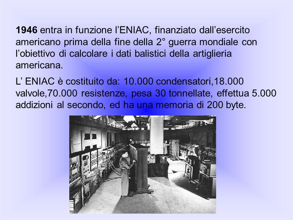 1946 entra in funzione l'ENIAC, finanziato dall'esercito americano prima della fine della 2° guerra mondiale con l'obiettivo di calcolare i dati balistici della artiglieria americana.