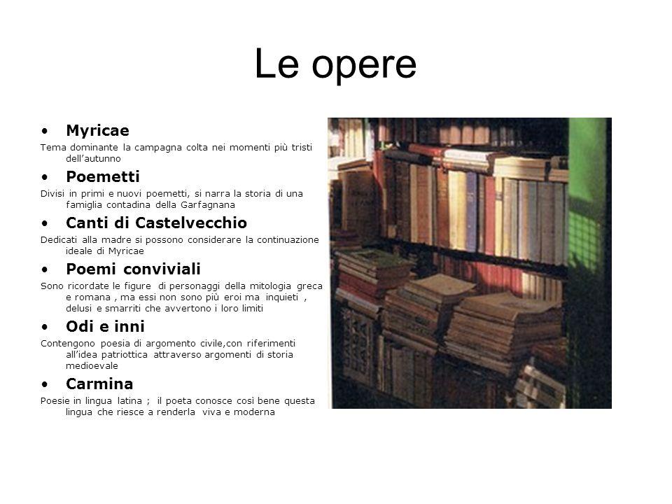 Le opere Myricae Poemetti Canti di Castelvecchio Poemi conviviali