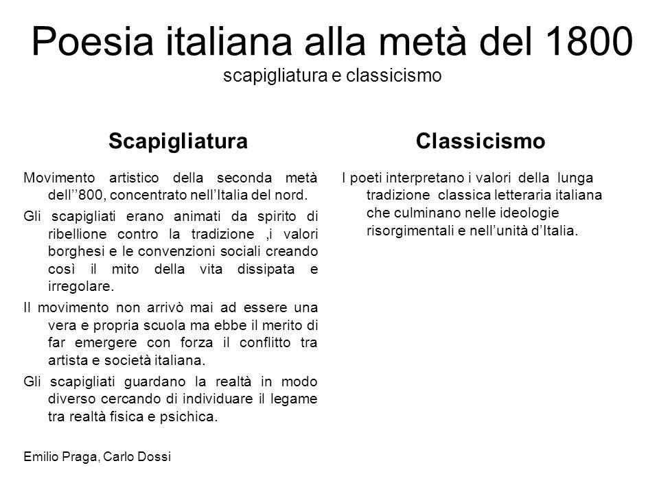 Poesia italiana alla metà del 1800 scapigliatura e classicismo