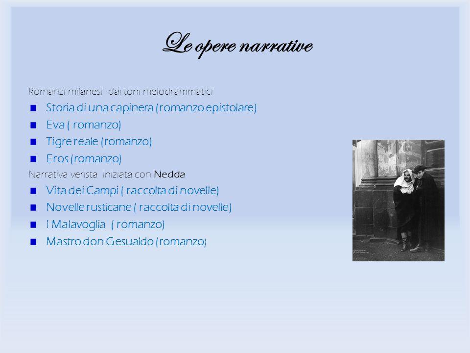 Le opere narrative Storia di una capinera (romanzo epistolare)