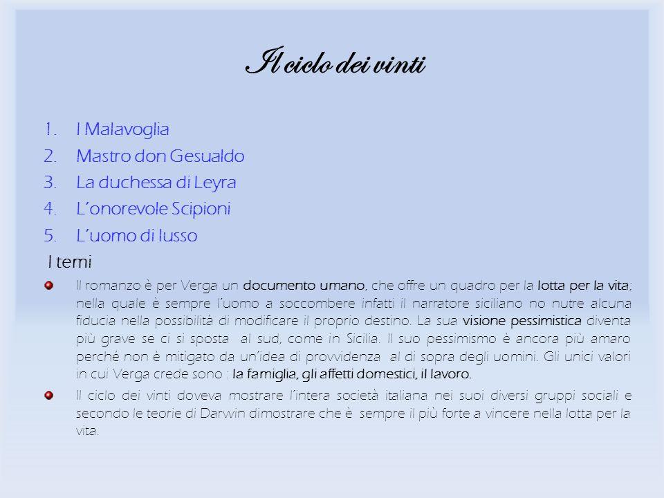 Il ciclo dei vinti I Malavoglia Mastro don Gesualdo