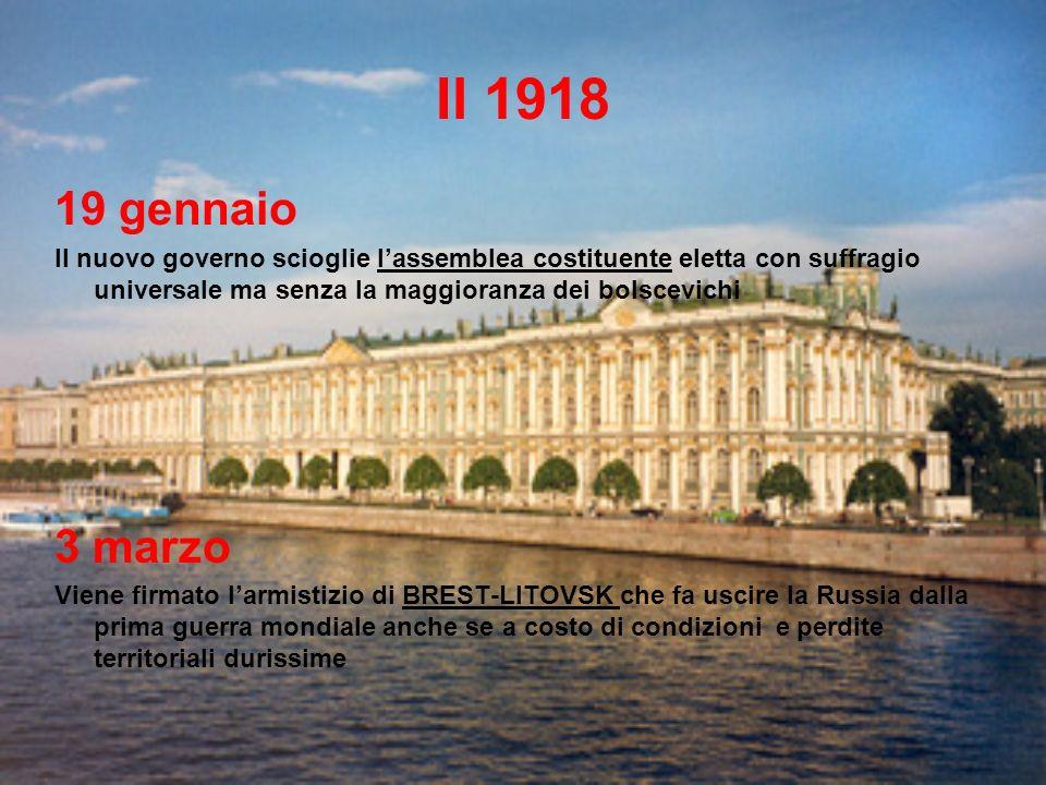Il 1918 19 gennaio. Il nuovo governo scioglie l'assemblea costituente eletta con suffragio universale ma senza la maggioranza dei bolscevichi.