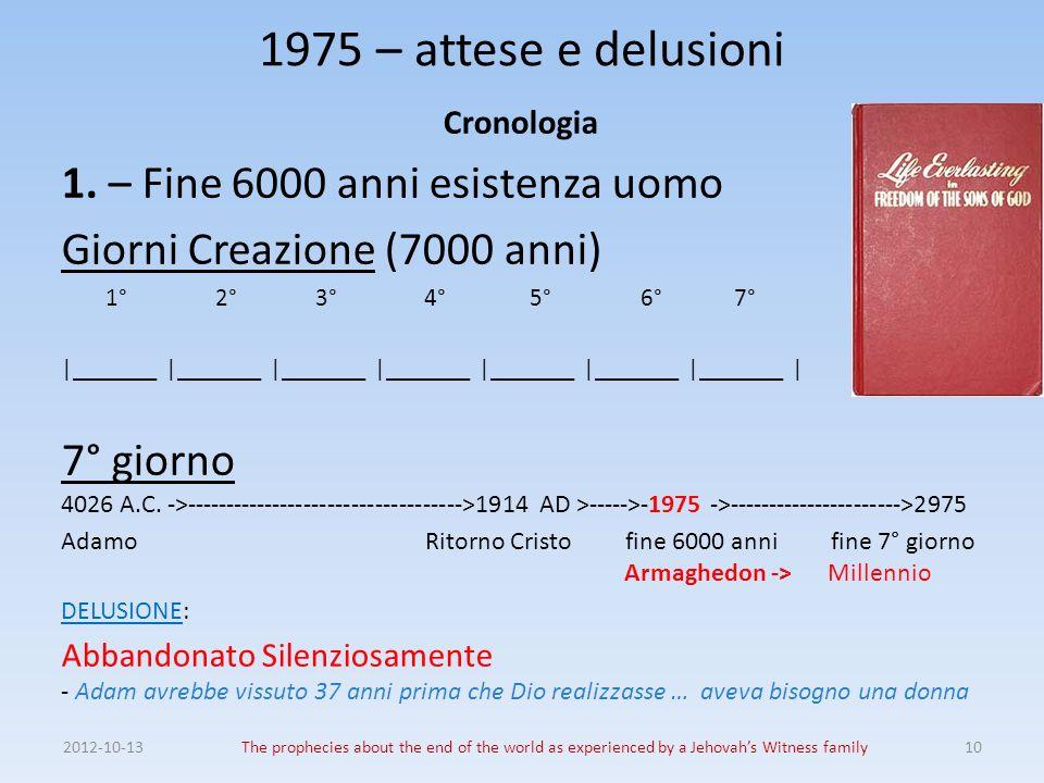 1975 – attese e delusioni 1. – Fine 6000 anni esistenza uomo