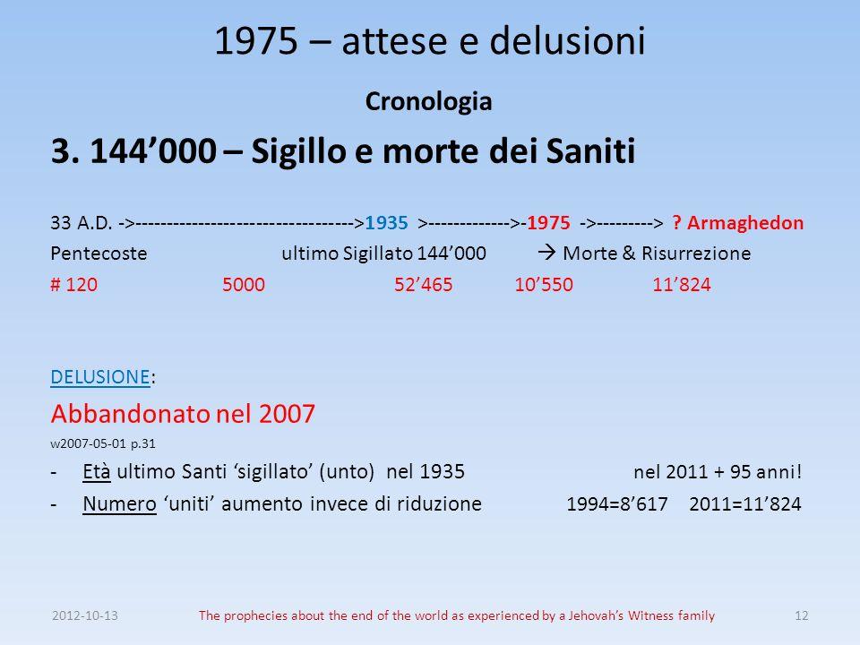 1975 – attese e delusioni 3. 144'000 – Sigillo e morte dei Saniti