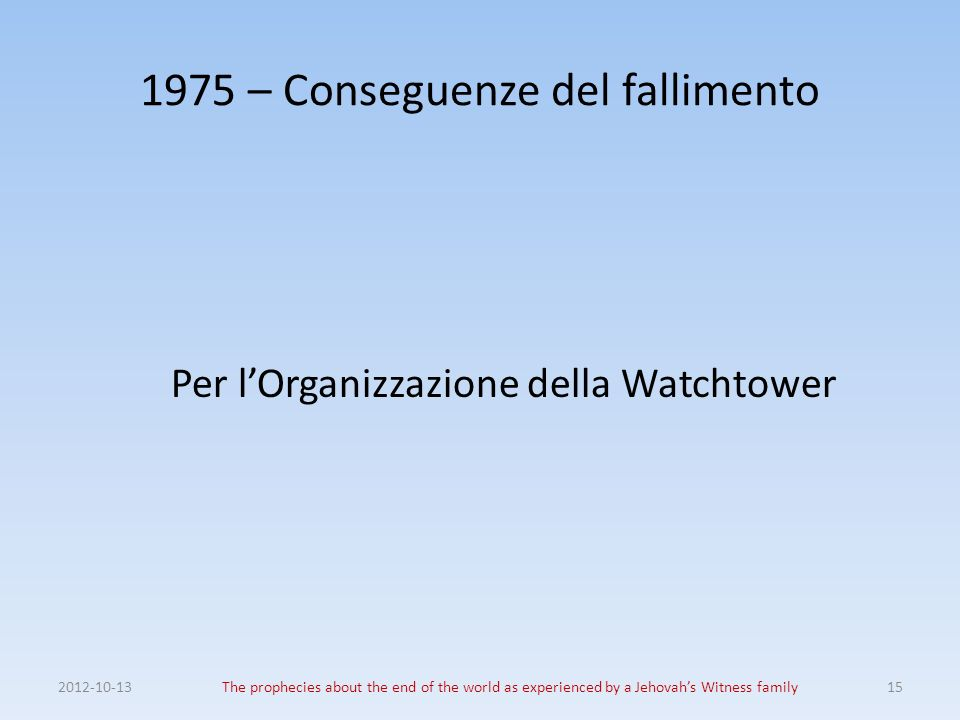 1975 – Conseguenze del fallimento