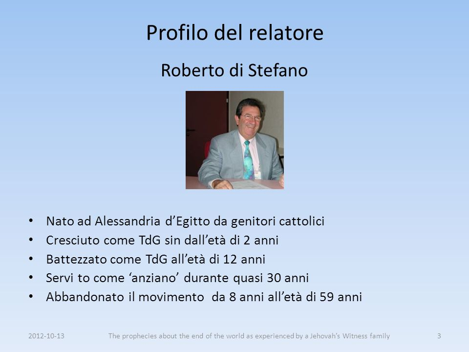 Profilo del relatore Roberto di Stefano