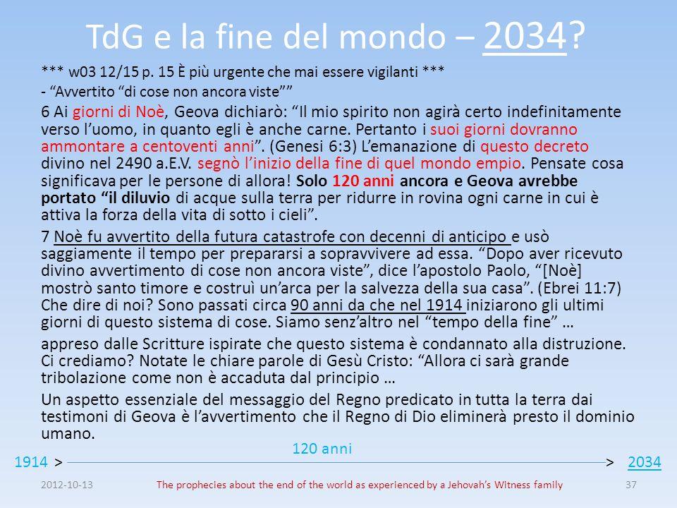 TdG e la fine del mondo – 2034 *** w03 12/15 p. 15 È più urgente che mai essere vigilanti *** - Avvertito di cose non ancora viste