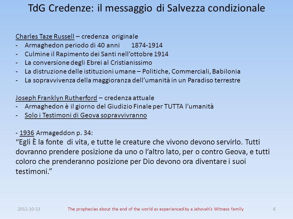 TdG Credenze: il messaggio di Salvezza condizionale