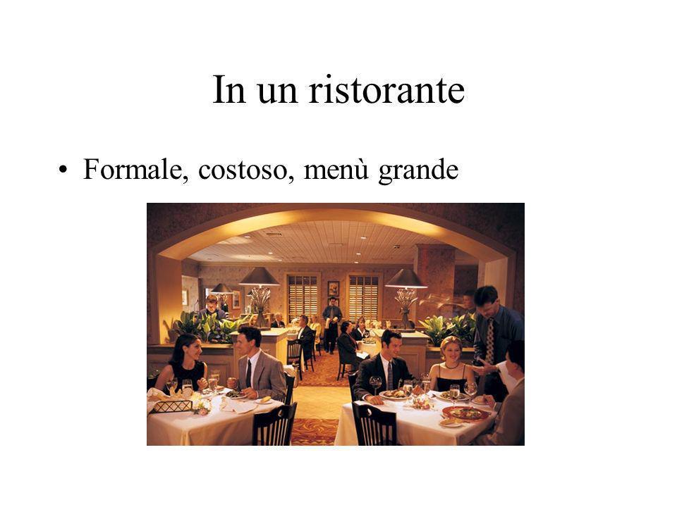 In un ristorante Formale, costoso, menù grande
