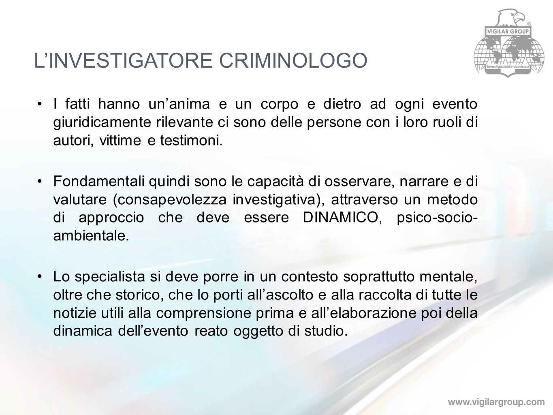 L'INVESTIGATORE CRIMINOLOGO