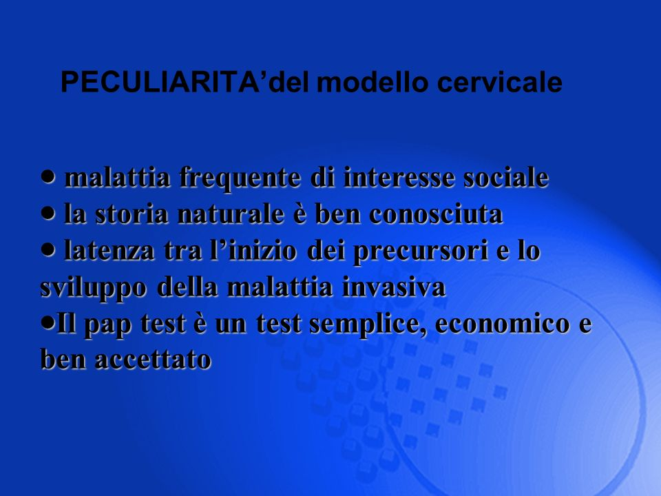 PECULIARITA'del modello cervicale