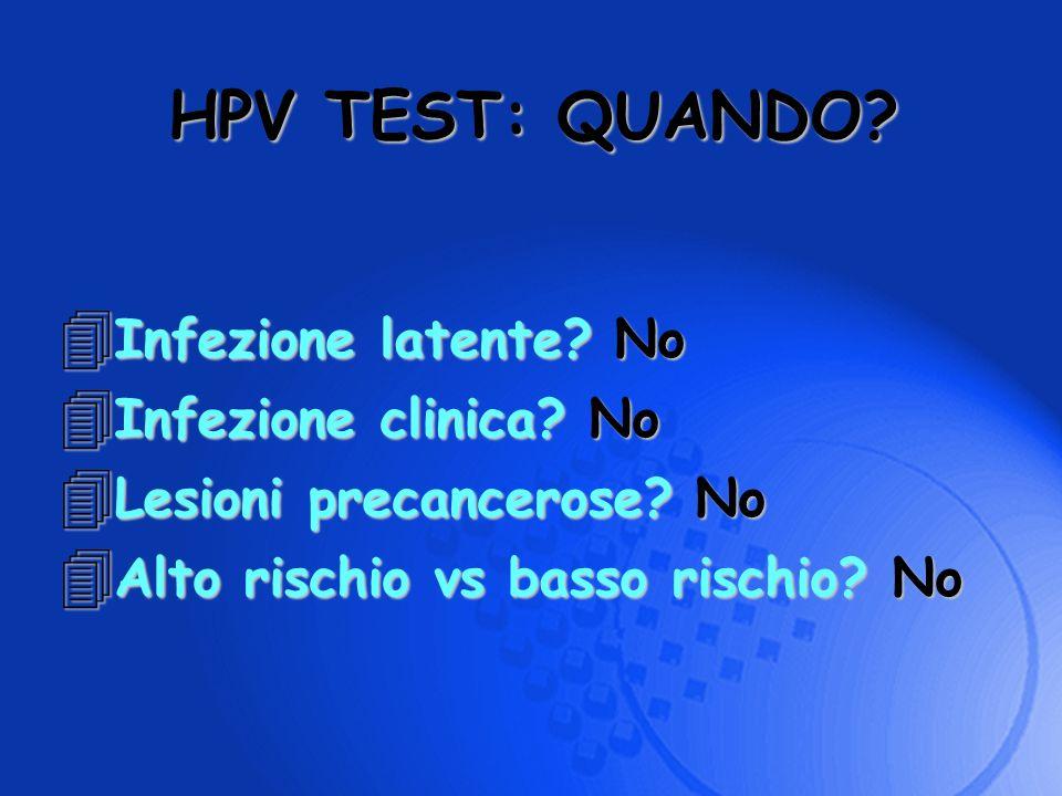 HPV TEST: QUANDO Infezione latente No Infezione clinica No