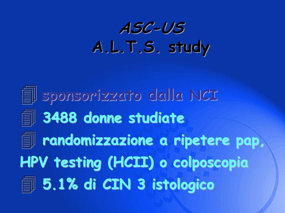 ASC-US A.L.T.S. study sponsorizzato dalla NCI 3488 donne studiate