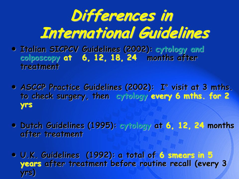 Differences in International Guidelines