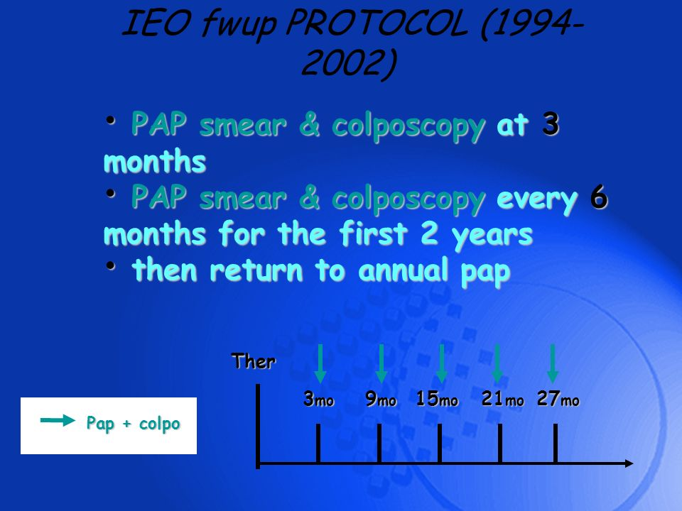 IEO fwup PROTOCOL (1994-2002) PAP smear & colposcopy at 3 months
