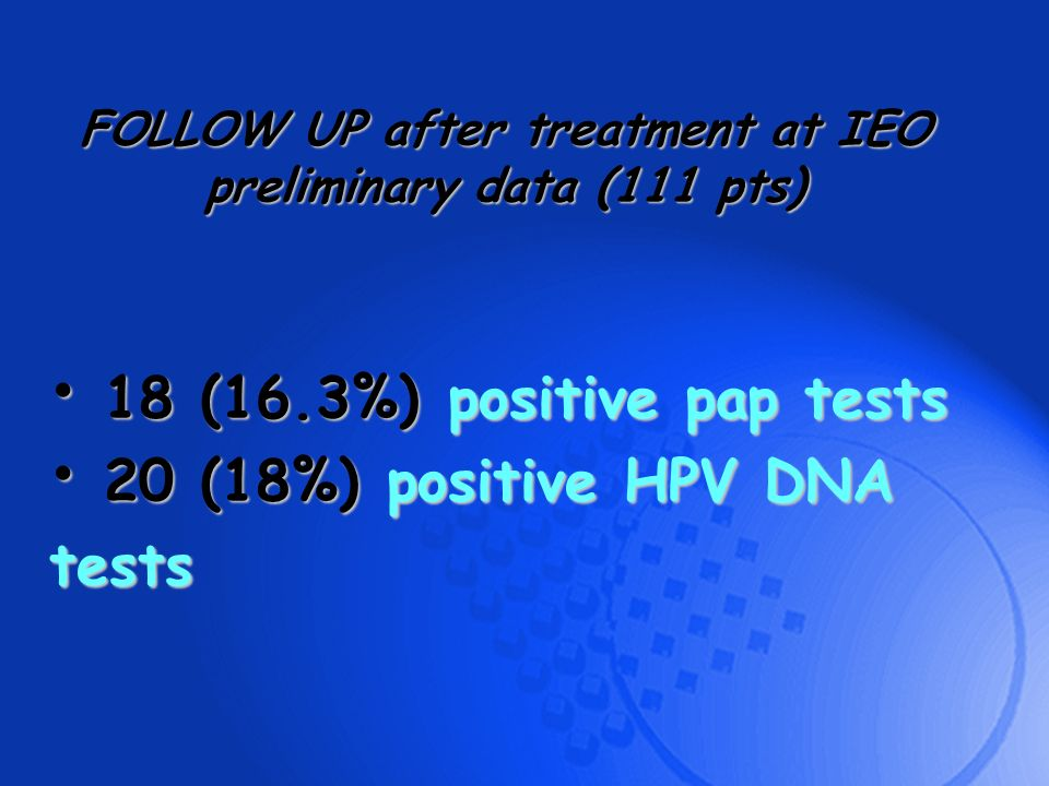 FOLLOW UP after treatment at IEO preliminary data (111 pts)