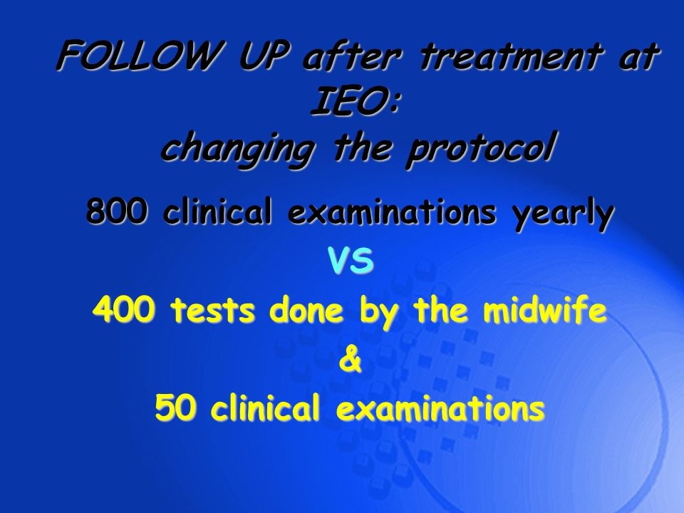 FOLLOW UP after treatment at IEO: changing the protocol