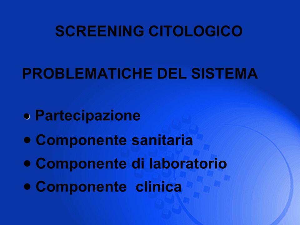 Partecipazione SCREENING CITOLOGICO PROBLEMATICHE DEL SISTEMA