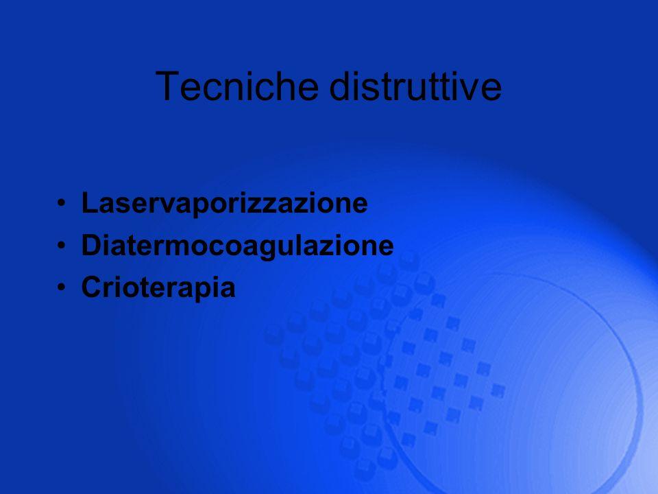 Tecniche distruttive Laservaporizzazione Diatermocoagulazione