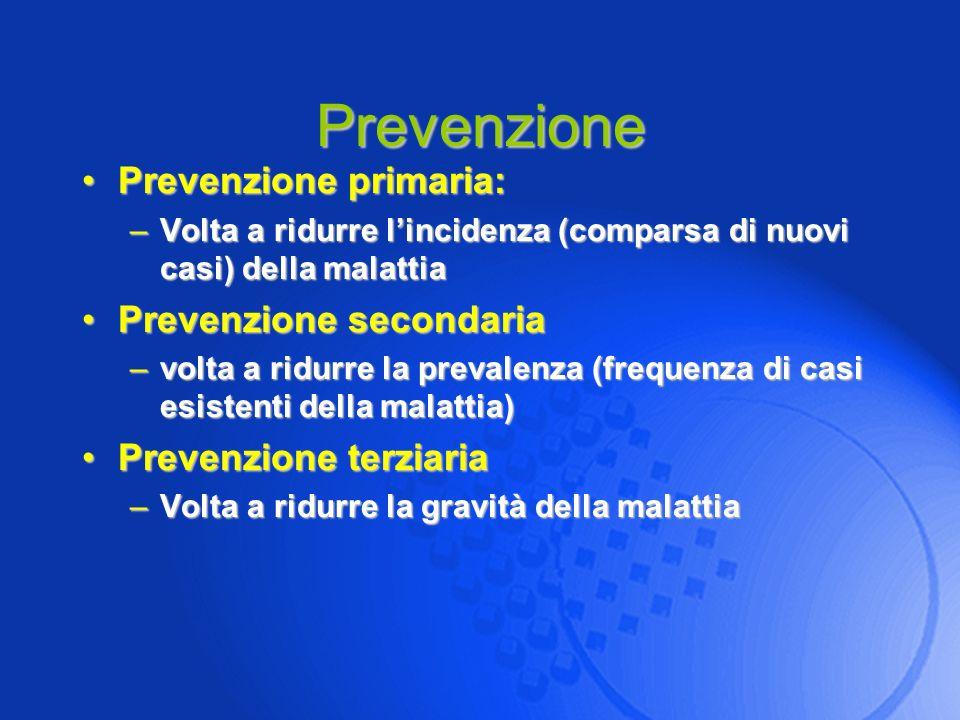 Prevenzione Prevenzione primaria: Prevenzione secondaria
