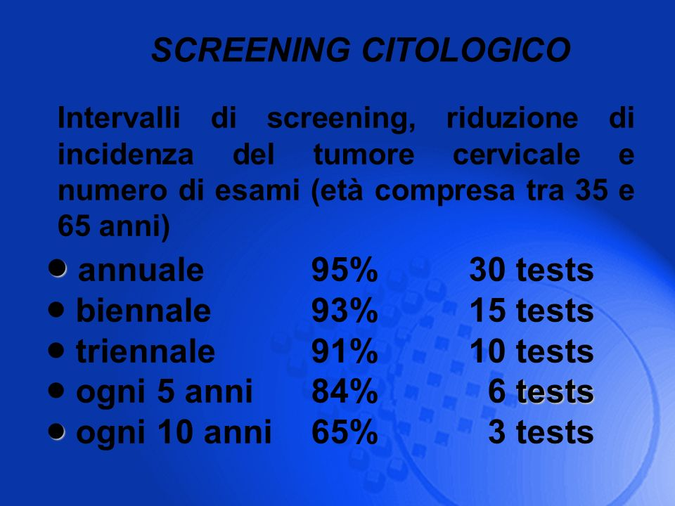 annuale 95% 30 tests SCREENING CITOLOGICO biennale 93% 15 tests