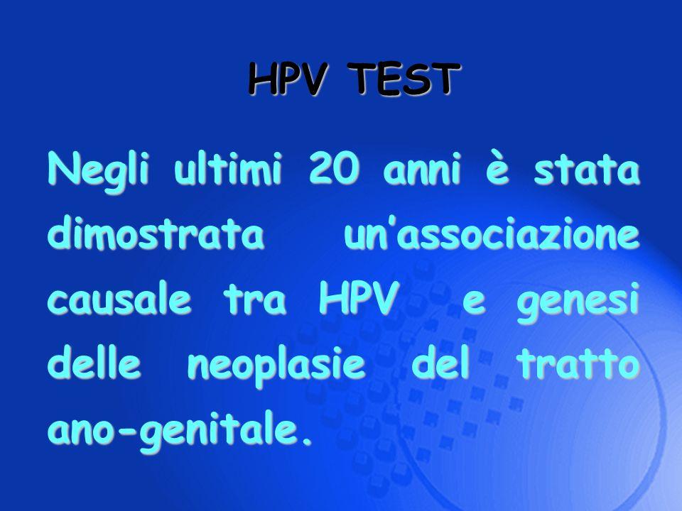 HPV TEST Negli ultimi 20 anni è stata dimostrata un'associazione causale tra HPV e genesi delle neoplasie del tratto ano-genitale.