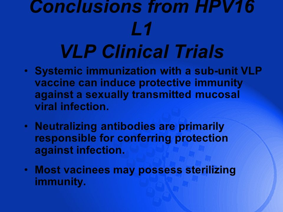 Conclusions from HPV16 L1 VLP Clinical Trials