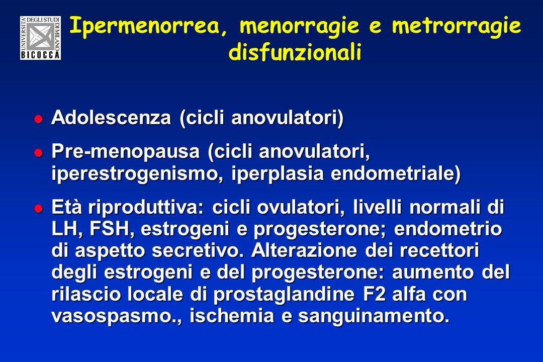 Ipermenorrea, menorragie e metrorragie disfunzionali