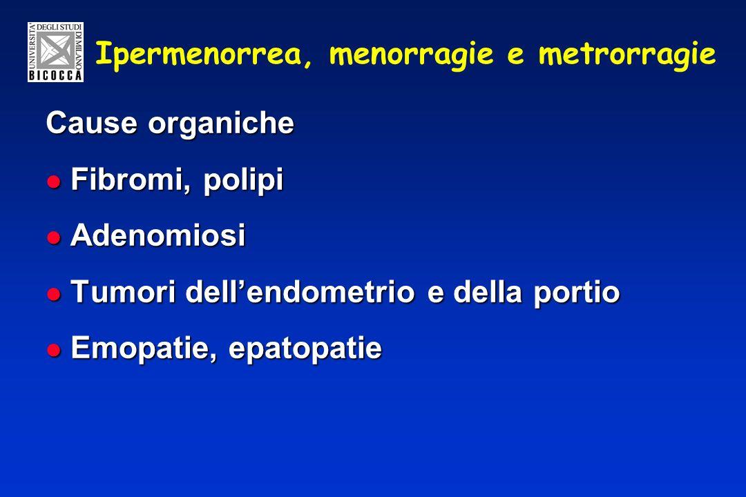Ipermenorrea, menorragie e metrorragie