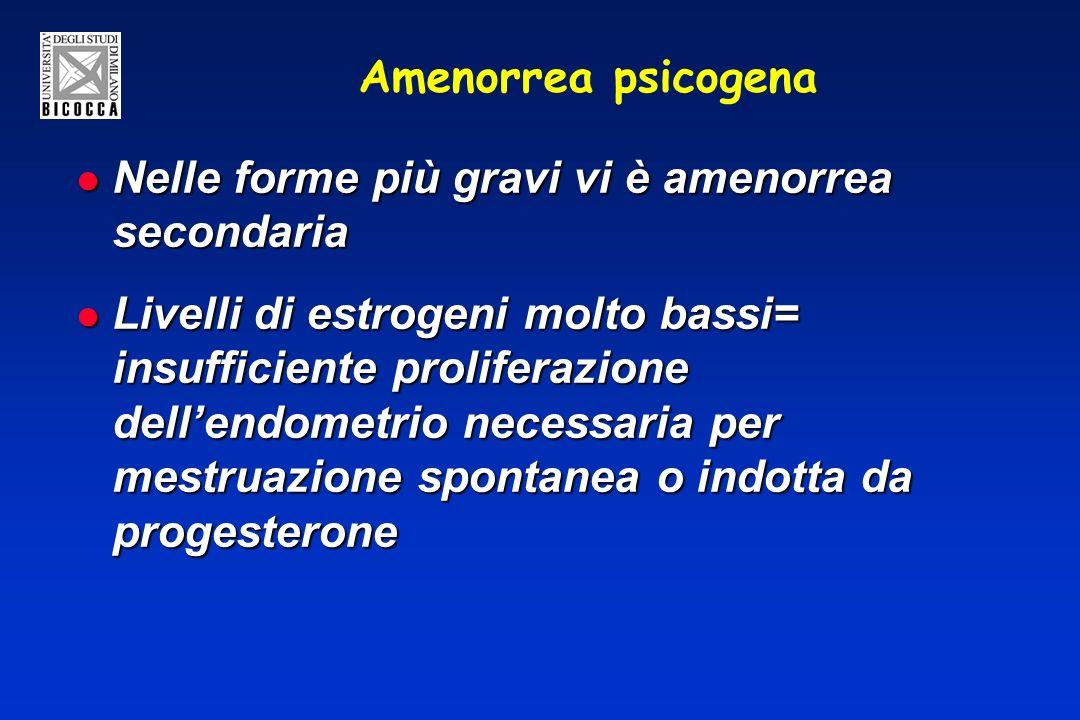 Amenorrea psicogena Nelle forme più gravi vi è amenorrea secondaria.
