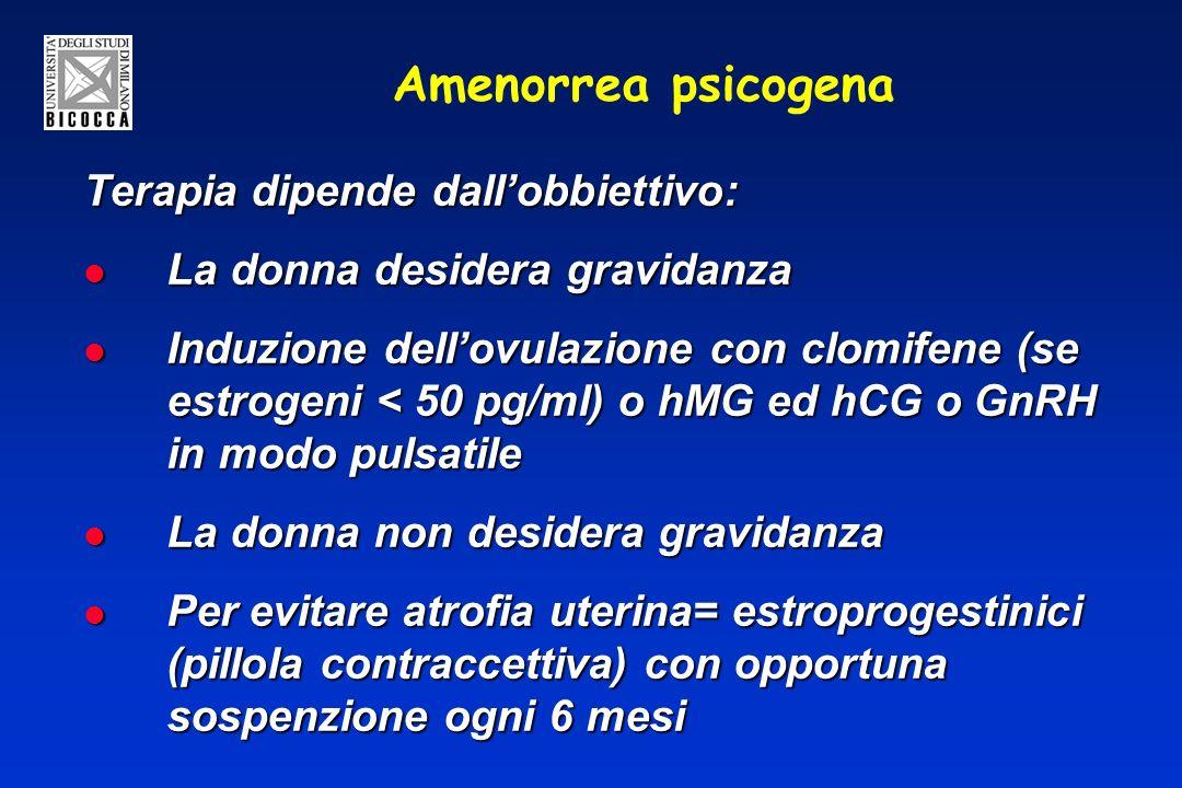 Amenorrea psicogena Terapia dipende dall'obbiettivo: