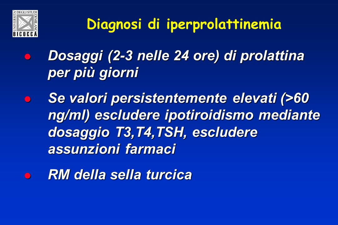 Diagnosi di iperprolattinemia