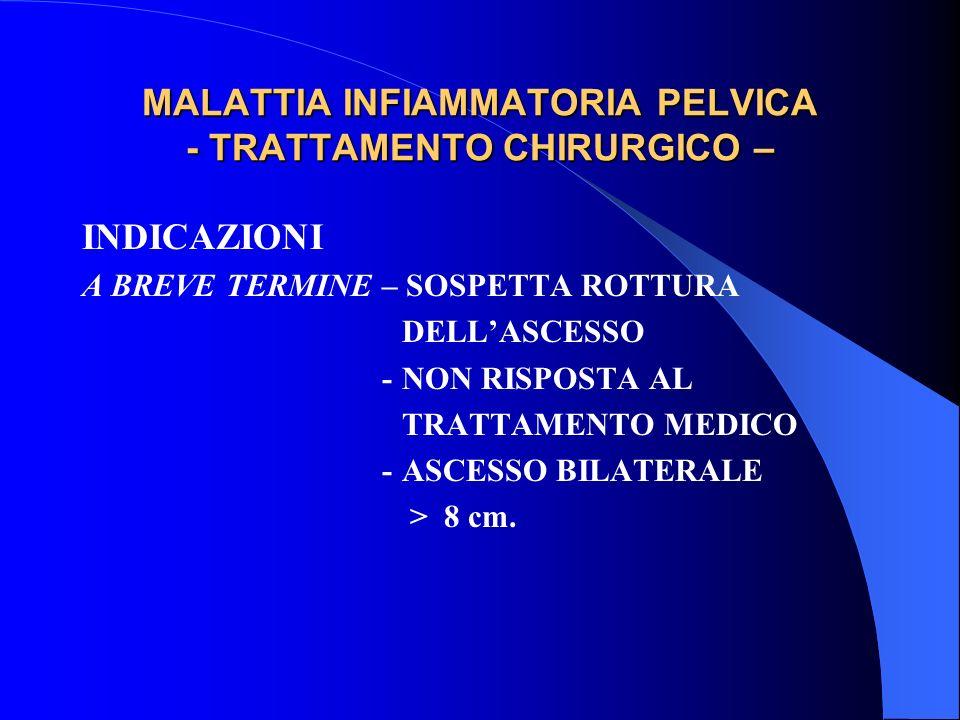 MALATTIA INFIAMMATORIA PELVICA - TRATTAMENTO CHIRURGICO –