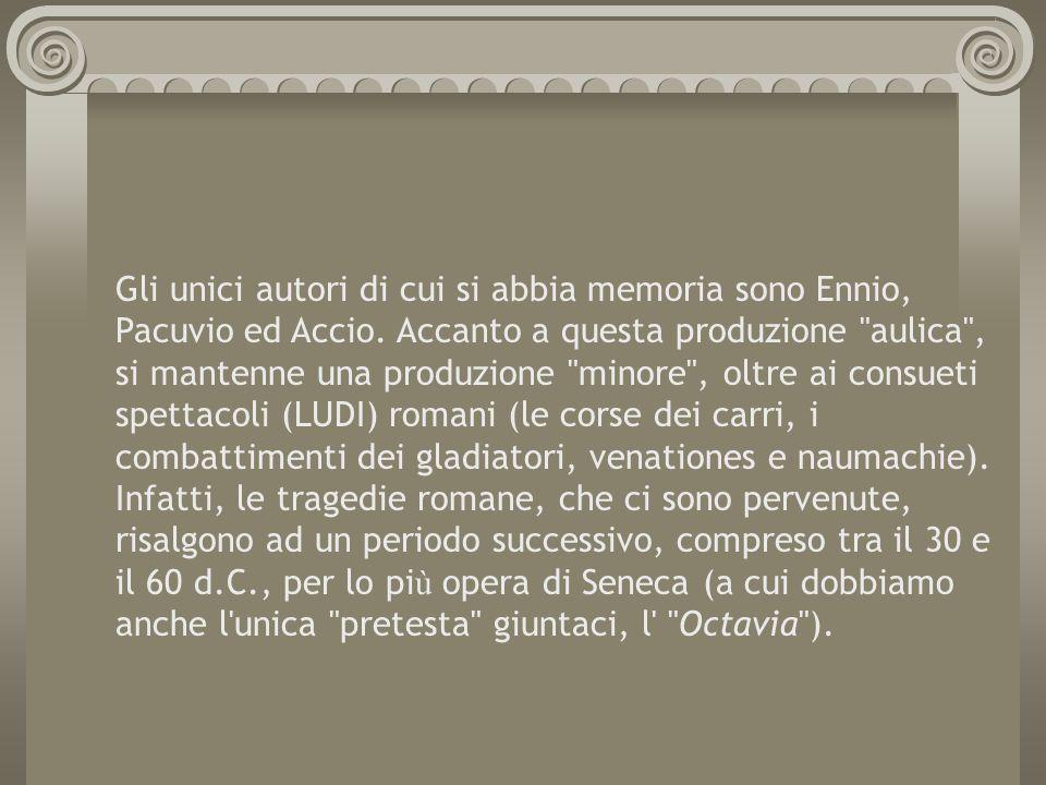Gli unici autori di cui si abbia memoria sono Ennio, Pacuvio ed Accio