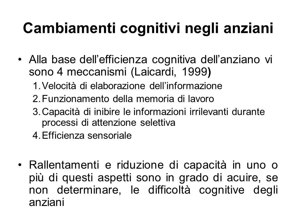 Cambiamenti cognitivi negli anziani