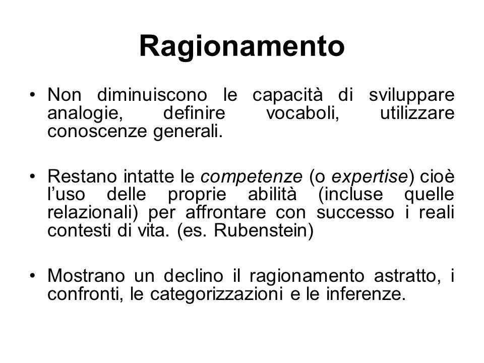 Ragionamento Non diminuiscono le capacità di sviluppare analogie, definire vocaboli, utilizzare conoscenze generali.