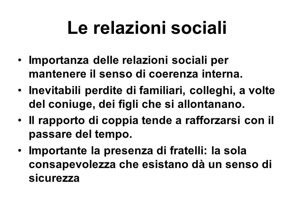 Le relazioni sociali Importanza delle relazioni sociali per mantenere il senso di coerenza interna.