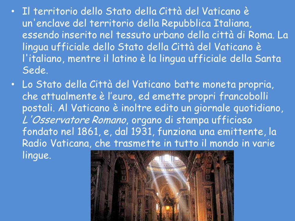 Il territorio dello Stato della Città del Vaticano è un enclave del territorio della Repubblica Italiana, essendo inserito nel tessuto urbano della città di Roma. La lingua ufficiale dello Stato della Città del Vaticano è l italiano, mentre il latino è la lingua ufficiale della Santa Sede.