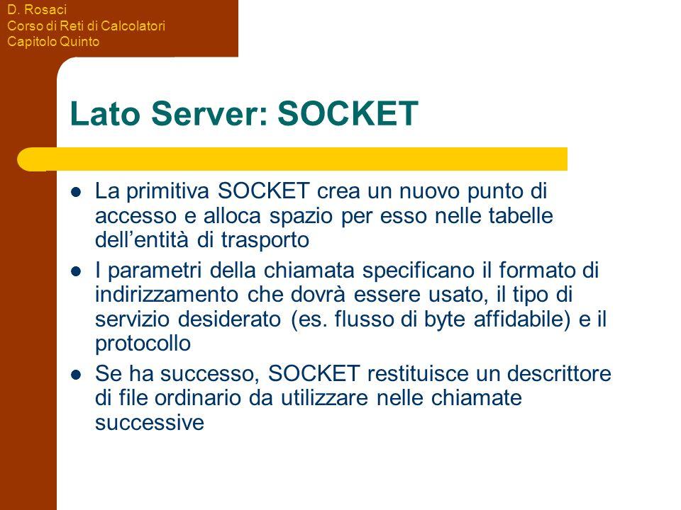 Lato Server: SOCKET La primitiva SOCKET crea un nuovo punto di accesso e alloca spazio per esso nelle tabelle dell'entità di trasporto.