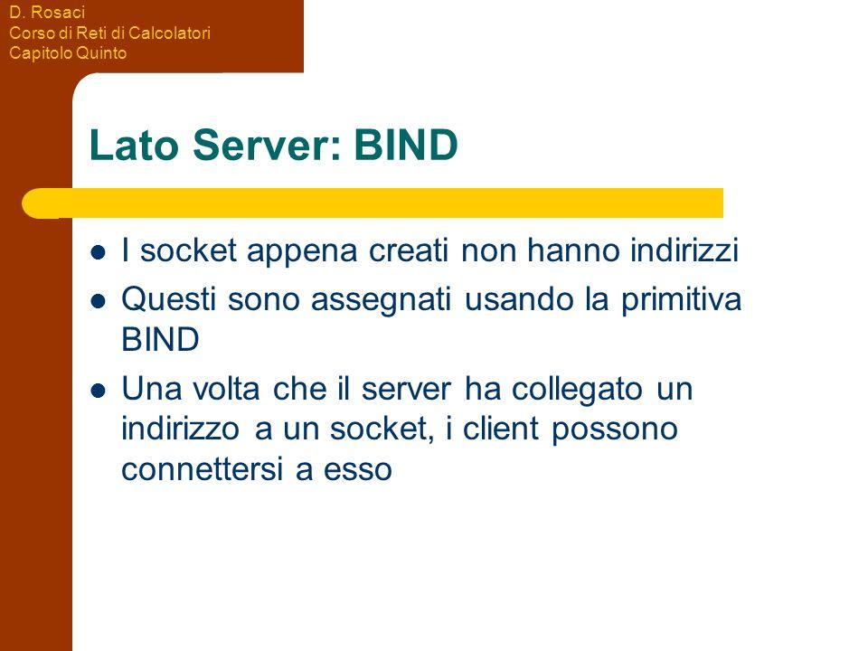 Lato Server: BIND I socket appena creati non hanno indirizzi