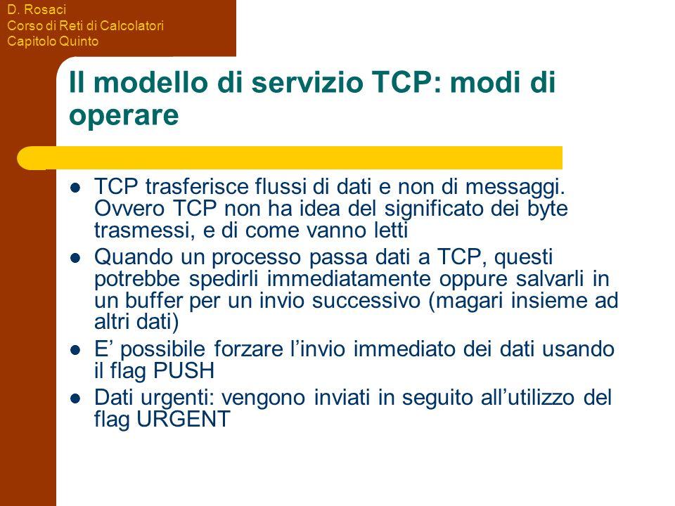 Il modello di servizio TCP: modi di operare