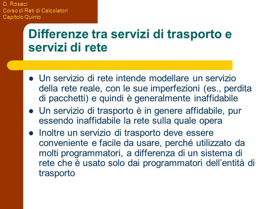 Differenze tra servizi di trasporto e servizi di rete