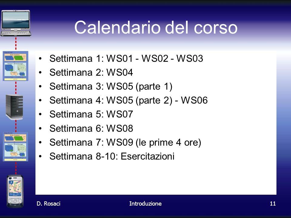 Calendario del corso Settimana 1: WS01 - WS02 - WS03 Settimana 2: WS04