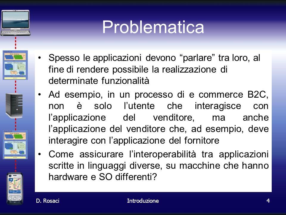 Problematica Spesso le applicazioni devono parlare tra loro, al fine di rendere possibile la realizzazione di determinate funzionalità.